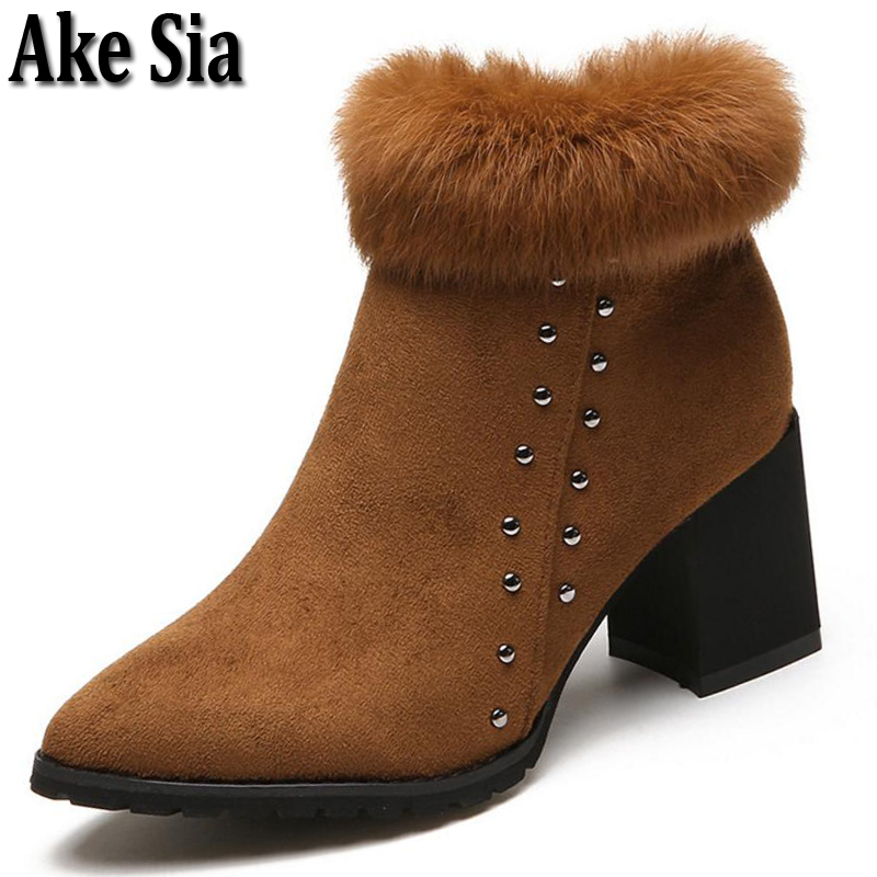 Ake Sia Vintage Fashion Autumn Winter Rivets Women's Warmth Fluff Snow Bottine Martin Woman Boots Mujer Shoes Ankle Booties F281 ake sia british winter fashion women warm hairy fluff slip on snow bottine martin boots increased with shoes ankle booties f275