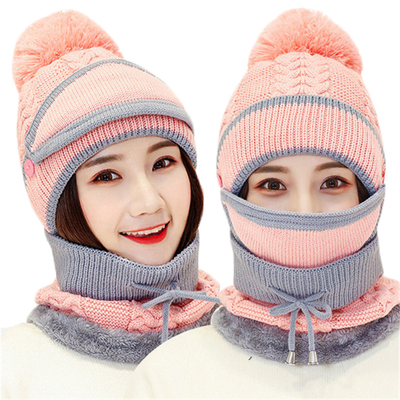 Autumn Winter Women's Hat Caps Knitted Wool Warm Scarf Sets Thick Windproof Balaclava Multi Functional Hat Scarf Set For Women