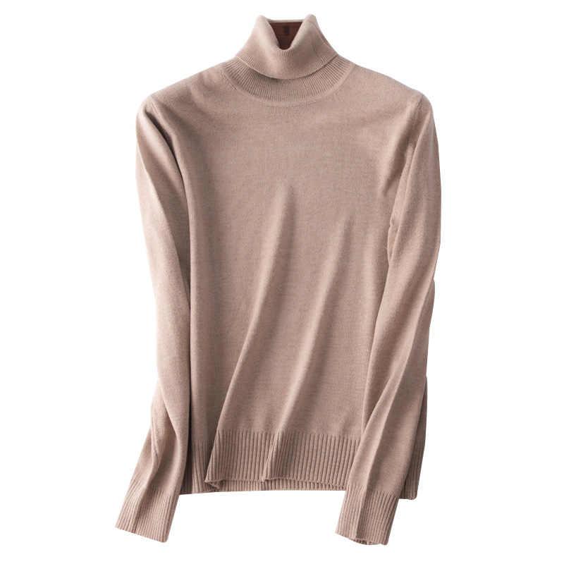 2019 Otoño Invierno suéter de cachemira Jersey femenino cuello alto suéter de cuello alto mujeres de color sólido señora suéter básico