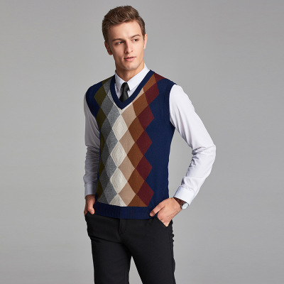 2017 New Arrival Fashion Design Mens V-Neck Diamond Argyle Pattern Cashmere Sweater Vest