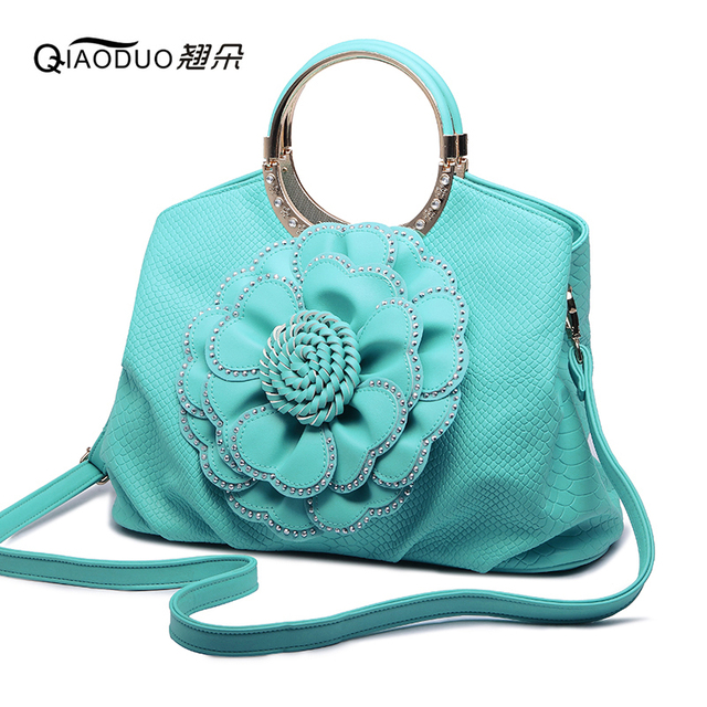 QIAODUO Diamond Inlaid With Roses Flowers Women Messenger Bags Leather Handbag For Women 2017 Fashion Round Cakes Clutch Tote