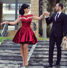 2016 rot Langarm Cocktailkleider Satin Appliques Cocktailkleid A-Line Kurzes Kleid Für Hochzeit