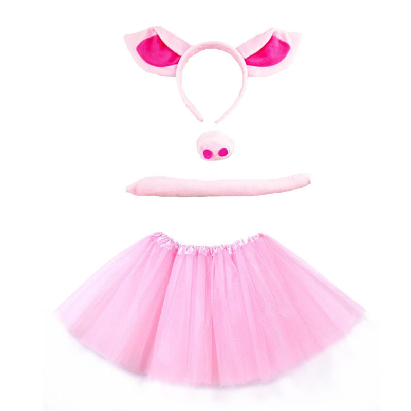 Purim Girl Pink Pig Cosplay Headband Tutu Skirt Tie Tail Set  Kids Children Birthday Party Gift Costume Halloween Carnival