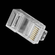 Free Shipping Brand New  100PCS Crystal Head RJ45 CAT5 CAT5E Modular Plug Gold Plated Network Connector