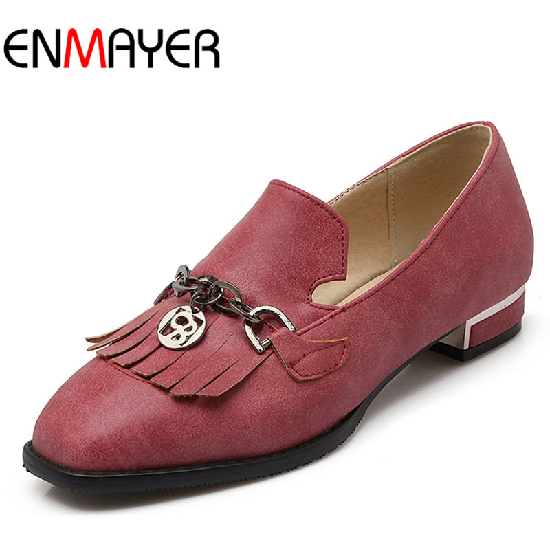 ФОТО ENMAYER Casual Mary Janes Women Flats Silp-on Solid Fringe Spring&Autumn Shoes Simple Style Red Color Flat Round Toe Size 34-39