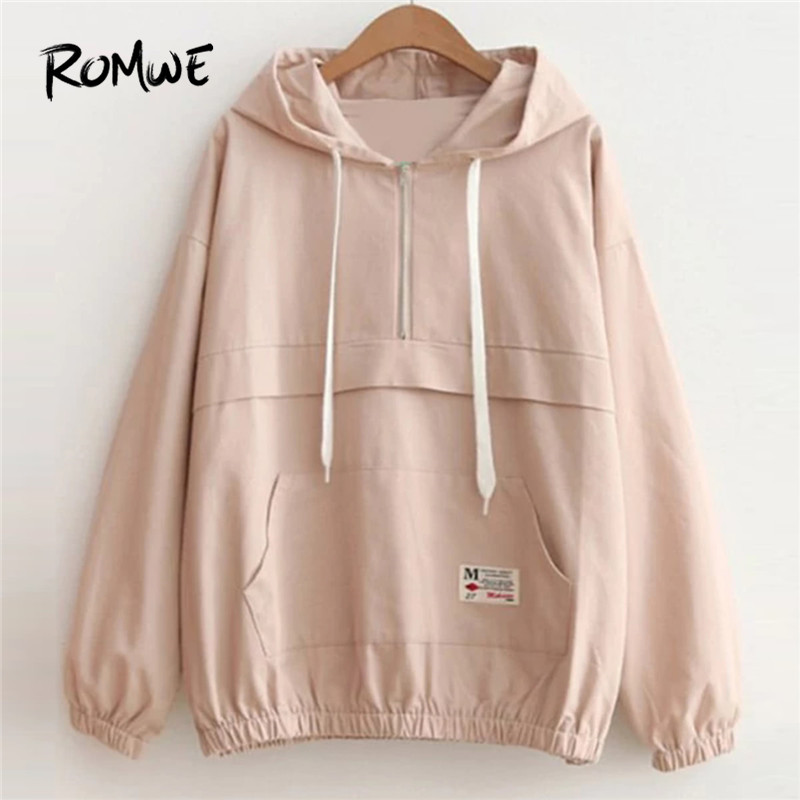 ROMWE Drop Shoulder Kangaroo Pocket Anorak Jacket Zipper Sporty Hooded Plain Women   Coat   Fall Winter Casual Jacket