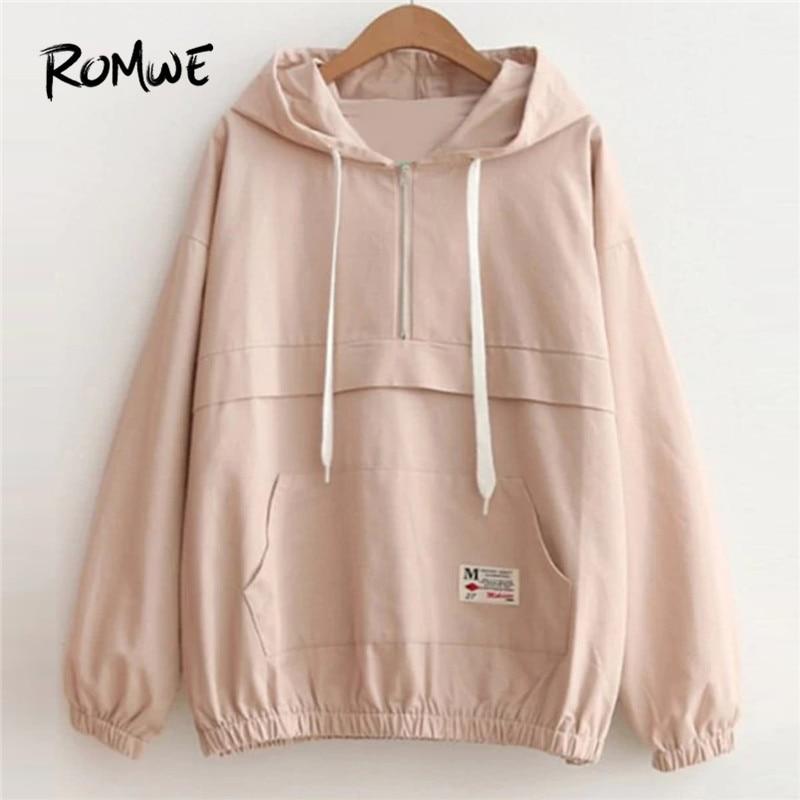 ROMWE Drop Shoulder Kangaroo Pocket Anorak Jacket Zipper Sporty Hooded Plain Women   Coat   Fall Winter Casual Jacket