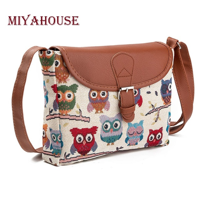 Summer Flap Lady Canvas Cartoon Owl Printed Cross Body Shoulder Bags