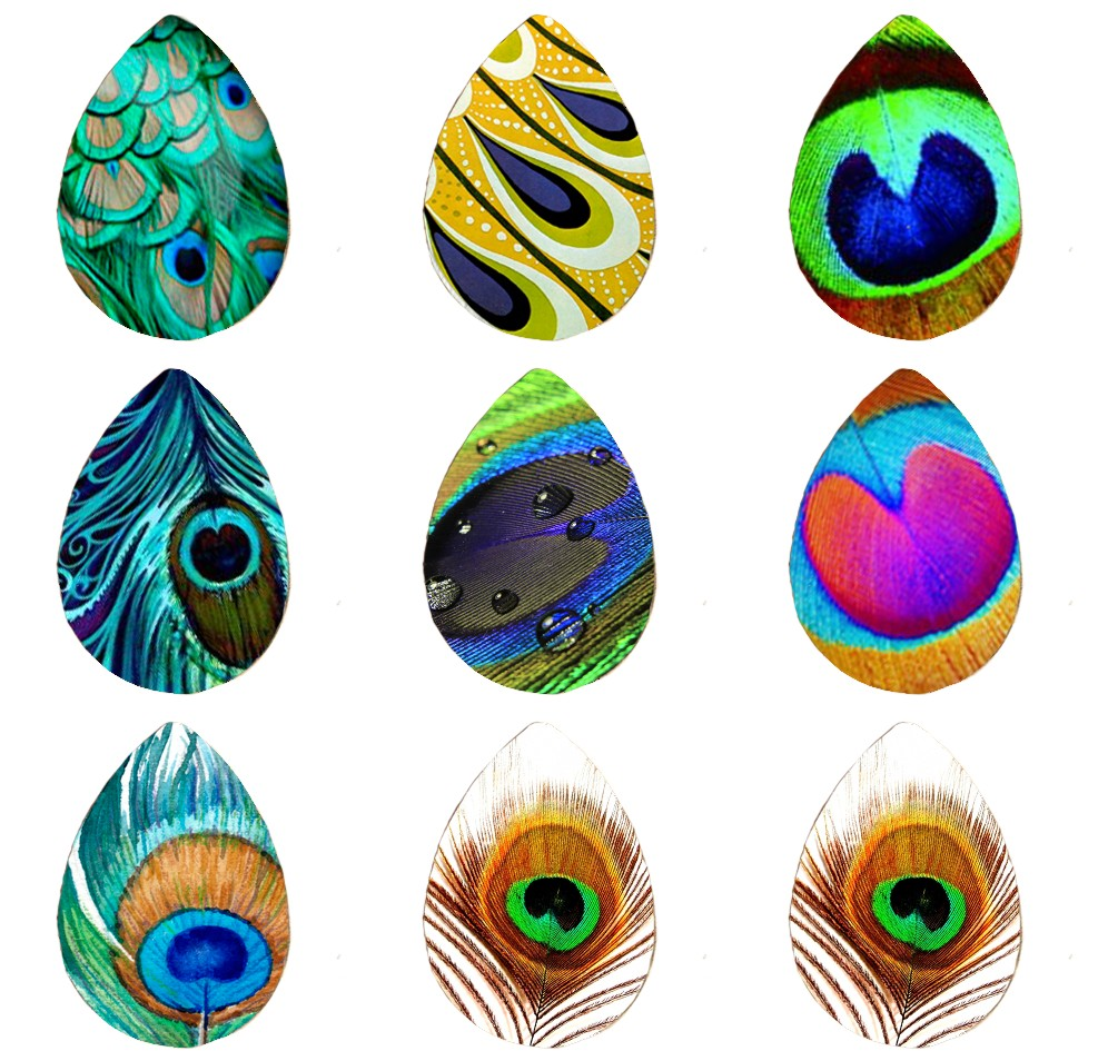 5pcs 18*25mm Peacock Feather  Abstract Feathers  Art Nouveau Handmade Photo Glass Drop Style Cabochons Jewelry Accessories