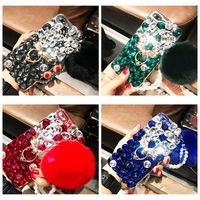 Luxury Rabbit Fur Case For Samsung Galaxy S6 S6Edge Case Furry Shell Smooth Rhinestone Ring Cover