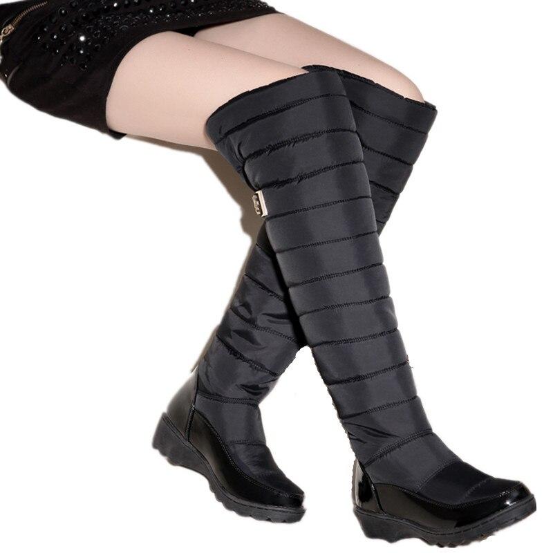 MEMUNIA Russia winter boots women warm knee high boots round toe down fur ladies fashion thigh snow boots shoes waterproof botas