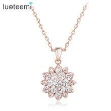 Luoteemi роскошь 2015 новая мода розовое золото цвет снег цветок cz бижутерия ожерелье для женщин партия подарков завода оптовая