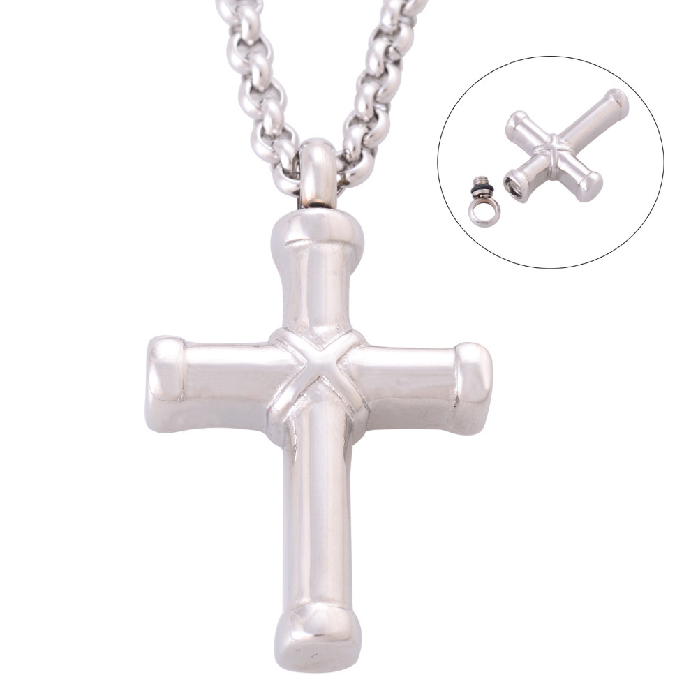 Cross cremation jewelry 316l stainless steel necklace for Stainless steel cremation jewelry