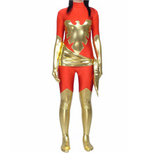 Jean Grey Dark Phoenix Costume Adult Women Red and Golden Shiny Metallic Catusuit Zentai Superhero Costume for Halloween Party