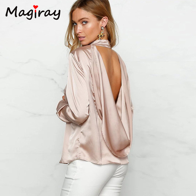 e1ca5a53731c0 New Backless Satin Blouse Top Femme Long Sleeve Choker Shirt Women 2019  Hollow Out Blusas Mujer Loose Ladies Tops Blouses C100