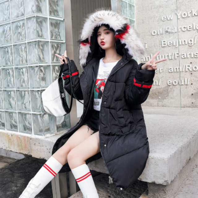 New Winter Women Coats With Colorful Fur Collar Winter Hooded Jackets Ladies Patchwork Parkas Female Winter Coats