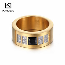 Kalen New High Quality Titanium Stainless Steel Gold Plated White Blue Black Zircon Crystal Rings for