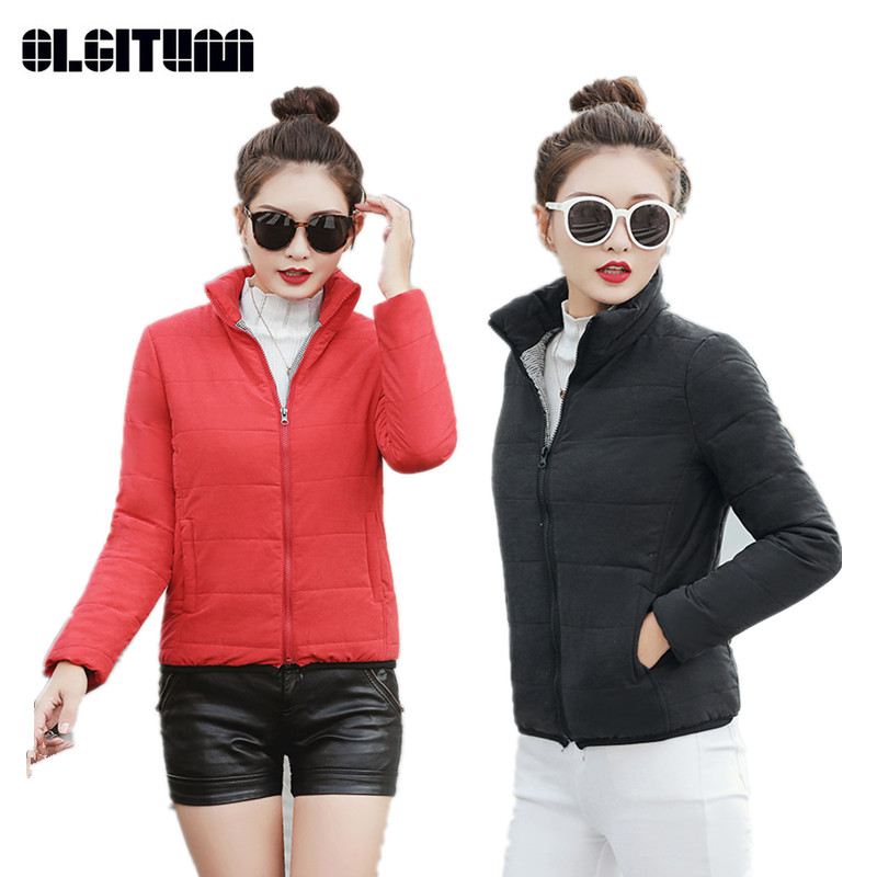 Winter Women's   Parkas   Slim Thick Hooded Short Coat Casual Solid Color New Female   Parka   5 Colors Choose CC696