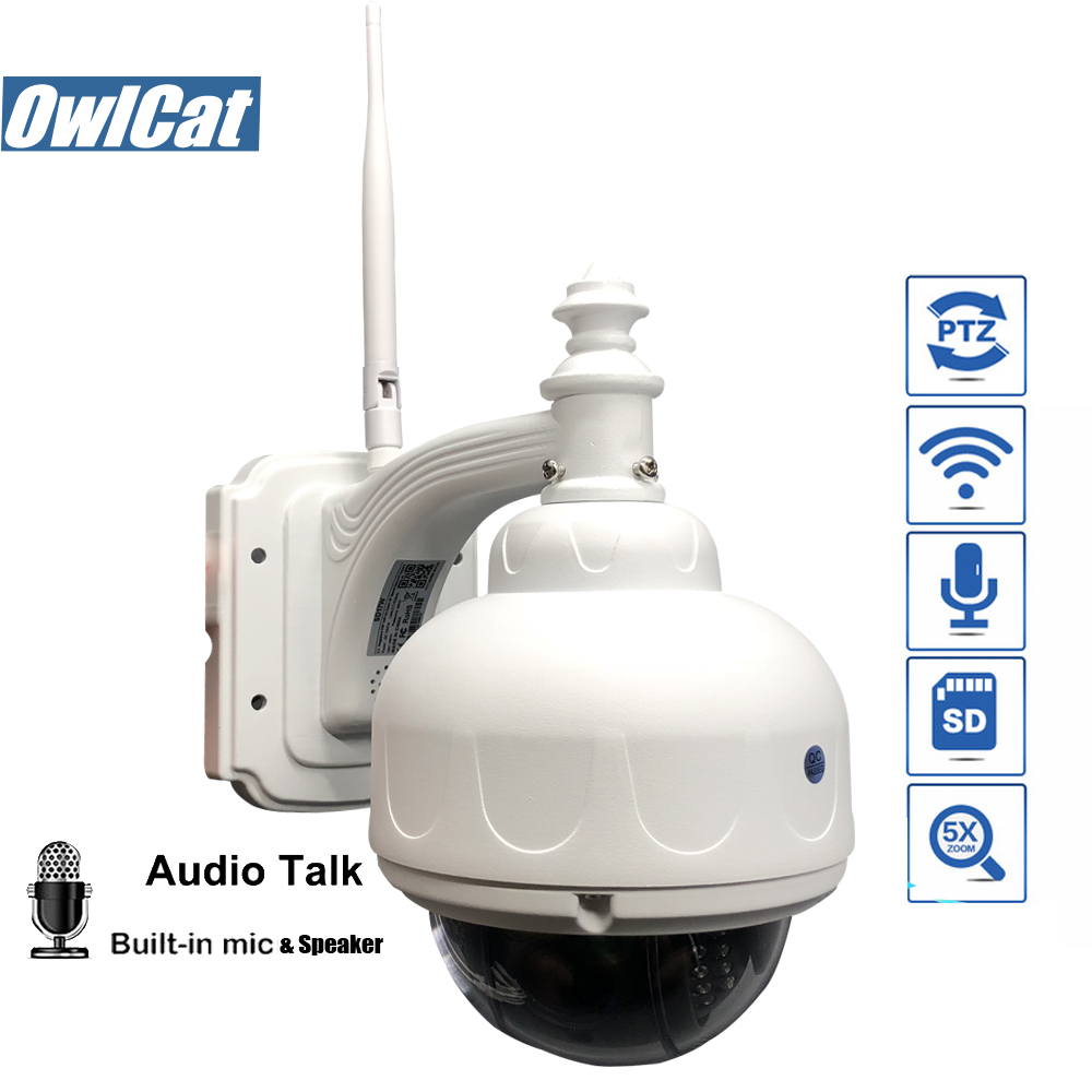 OwlCat SONY323 Outdoor/Waterproof HD 1080P Dome PTZ IP Camera WIFI 2MP 5X Opticl Zoom Wireless IR CCTV Two Way Audio Memory slot цена