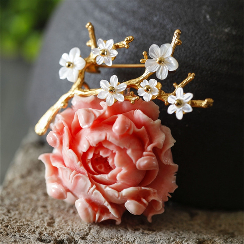 CMAJOR Delicate Flower Resin Pendants brooch Jewelry Bijoux Broche Femme Shell Brooches For Women delicate rhinestone flower leaf brooch for women