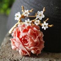 CMAJOR Delicate Flower Resin Pendants brooch Jewelry Bijoux Broche Femme Shell Brooches For Women