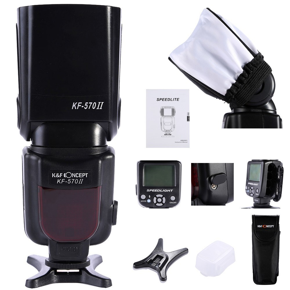 K&F CONCEPT KF-570 II Universal Master Slave Speedlight High Speed LCD Screen Flash Speedlite +Flash Diffuser For Nikon Canon spash sl 685c gn60 wireless master slave flash light ttl speedlite for nikon lcd screen cameras flash adjustable fill light