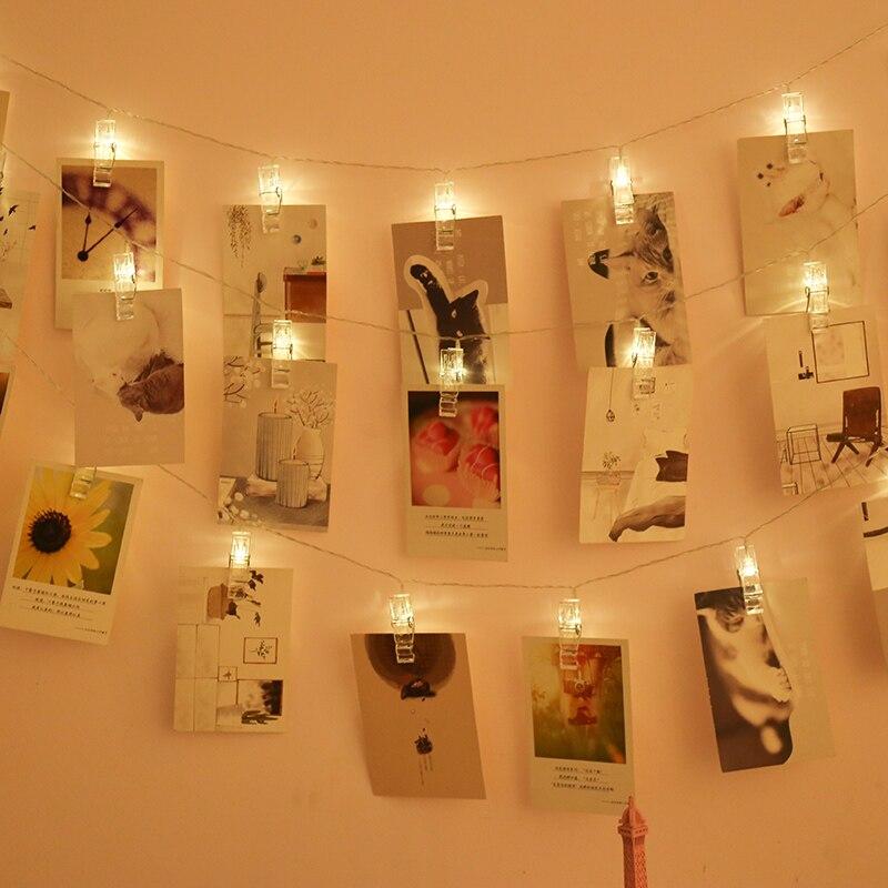 Pince de support pour photos 1.5 M LED guirlandes lumineuses pour noël nouvel an fête mariage décoration de la maison guirlandes lumineuses