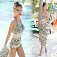 Kvinnor Baddräkt Priting High Waist Bikini Set 2018 Ny Baddräkt 3 Piece Beachwear Bandage Bikini Cover Up