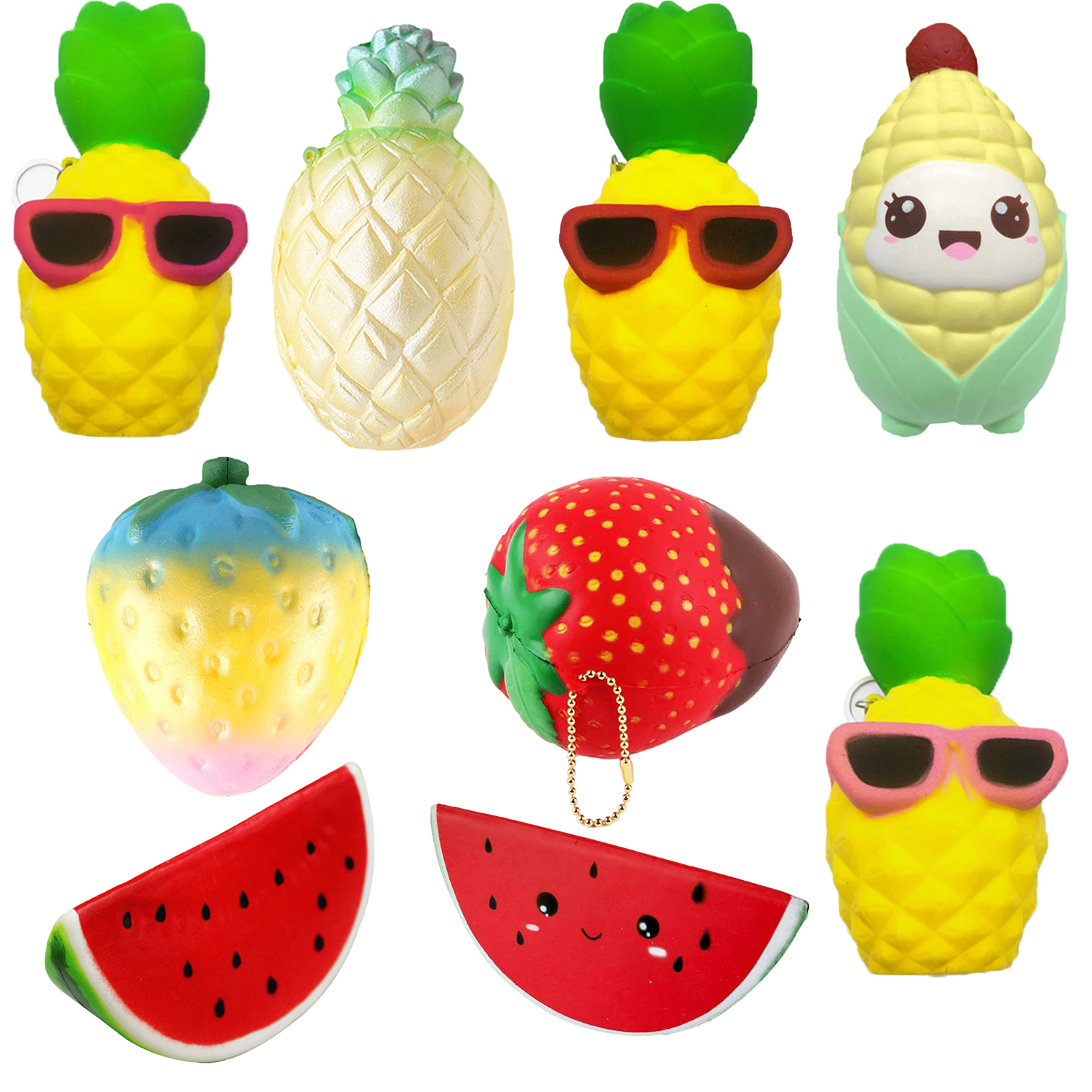 Besegad Funny Kawaii Slow Rising Rebound Squishy Food Corn Fruits Strawberry Watermelon Squishies Pineapple Relieves Stress Toys