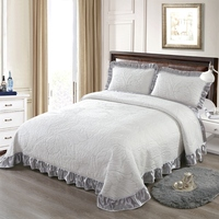 European Style Counterpane Gray White High Quality Comfortable Soft Cotton Thick Blanket Lace Bedspread Bed sheet pillowcases