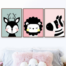 Cute Cartoon Animals Deer Lion Zebra Wall Art Canvas Painting Nordic Posters And Prints Pictures For Kids Room Decor