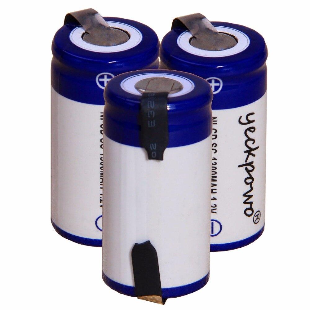 yeckpowo 3 pcs SC 1300mah 1.2v battery NICD rechargeable batteries for makita bosch B&D Hitachi dewalt for emergency light