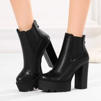 leather boots for women fashion punk ankle boots high heels shoes platform womens boots hjm89