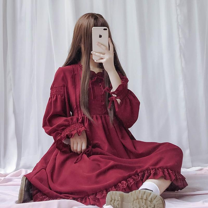 Pink Black Japanese Sweet Lolita Princess Dress Autumn Slim Lace Lantern Sleeve Long Sleeve Frilled Ruffles Hem Girly Gilr Dress