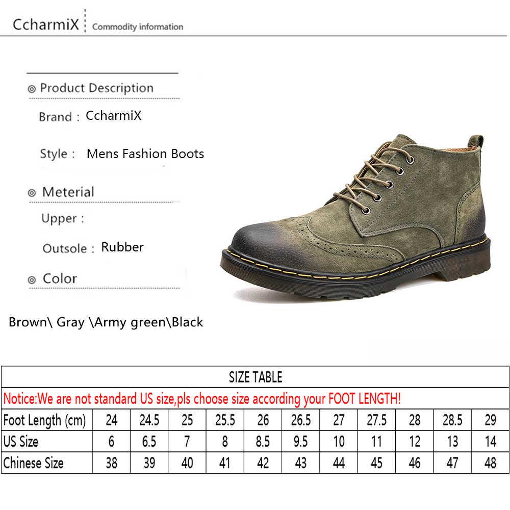 CcharmiX Männer Stiefeletten Mode Frühjahr/Herbst Schuhe Wildleder Leder Flügel Spitze Herren Schuhe Lace Up Casual Winter Stiefel große Größe