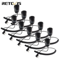 10pcs Retevis 2 Pin Mini PTT Speaker MIC Walkie Talkie Accessories For Baofeng UV5R 888S For Kenwood For TYT Two Way Radio C9021