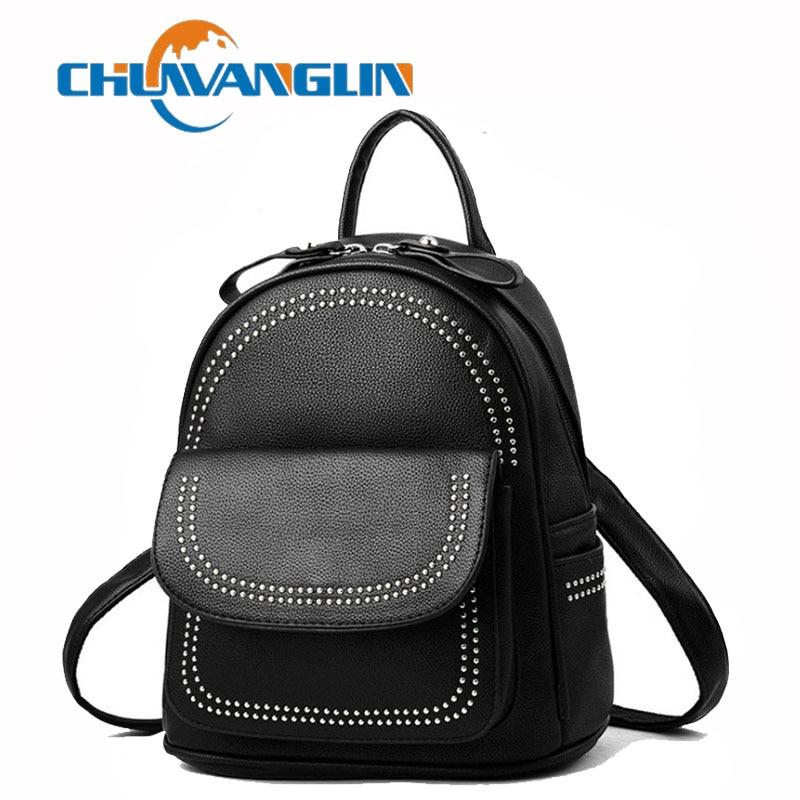 c936c159d2cb Chuwanglin заклепки для женщин кожа рюкзаки модные школьная сумка для девочки  сумки повседневное рюкзак женский дорожная сумка A51701
