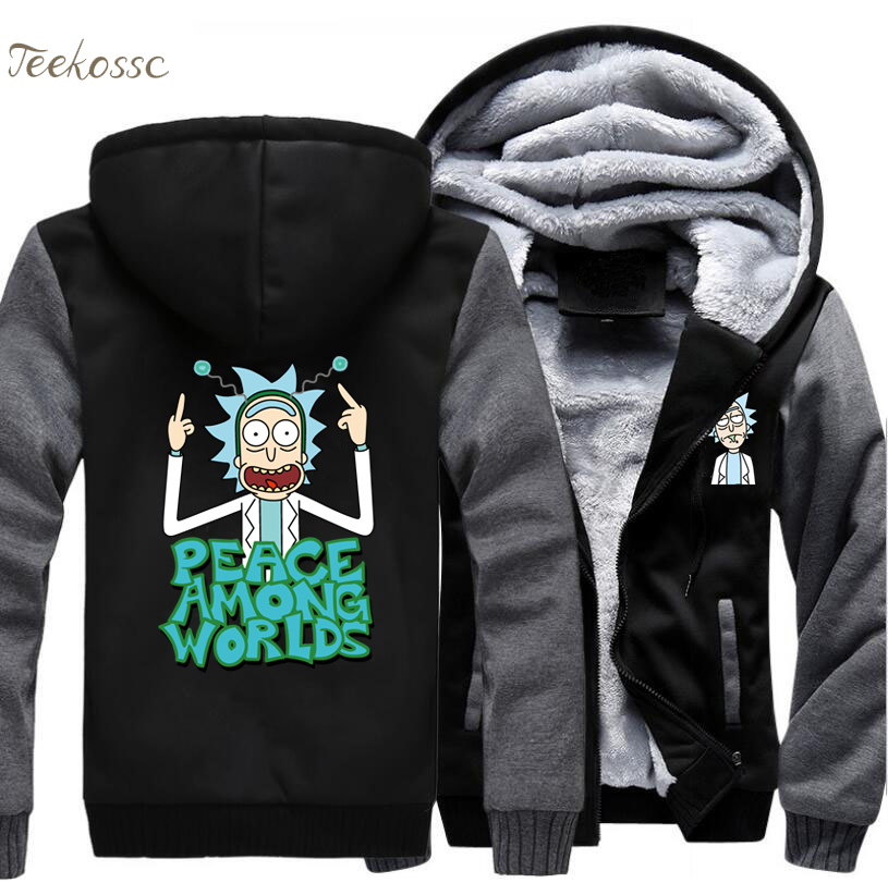 Science Moive Rick and Morty Hoodies Sweatshirts Men 2018 Spring Winter Crazy Peace Among Worlds Print Funny Male Jackets Coat