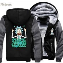цены на Science Moive Rick and Morty Hoodies Sweatshirts Men 2018 Winter Peace Among Worlds Print Funny Hoodie Cartoon Streetwear Coat  в интернет-магазинах