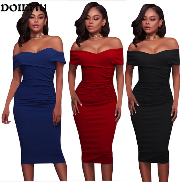 308076f18d9 2017 new Celebrity tight-Fitting Dress Slash neck Off -Shoulder bodycon  women evening party mid-Calf lenght sexy pencil dress