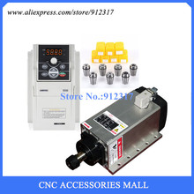 Full set cnc spindle motor 3.5kw ER20 air cooled milling & Sunfar 3.7Kw AC220V VFD Inverter + Collets