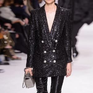 Image 1 - מסלול אופנה החדש באיכות גבוהה 2020 מעצב בלייזר נשים של טור כפתורים כפול צעיף צווארון נצנצים ארוך בלייזר חיצוני ללבוש
