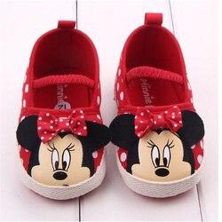 Дисней милая Минни детская обувь для девочек новорожденных весна лето девочка детские туфли с бантиком для принцессы горошек цветок мягкая...