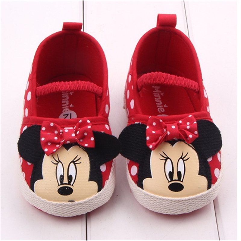 Disney Cute Minnie Baby Girl Shoes Newborn Spring Summer Girl Baby Princess Shoes Bowknot Polka Dot Flower Soft-Soled Crib Shoes