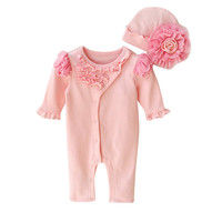 Newborn Infant Baby Girls Cap Hat Romper Bodysuit Playsuit Clothing Set Outfit Cotton Blended Fashion Cute