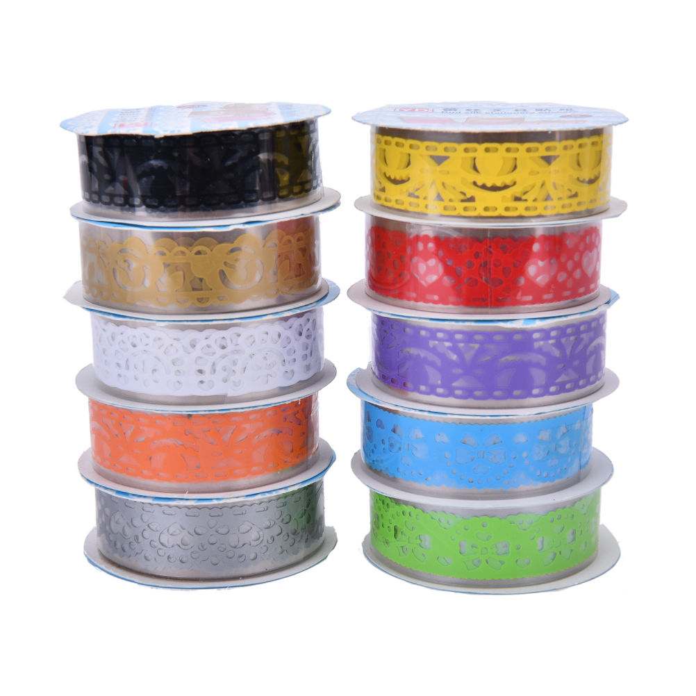 Office Adhesive Tape Candy Colors Lace Tape Decoration Roll Decorative Sticky Paper Masking Tape Self Adhesive Tape Tapes, Adhesives & Fasteners