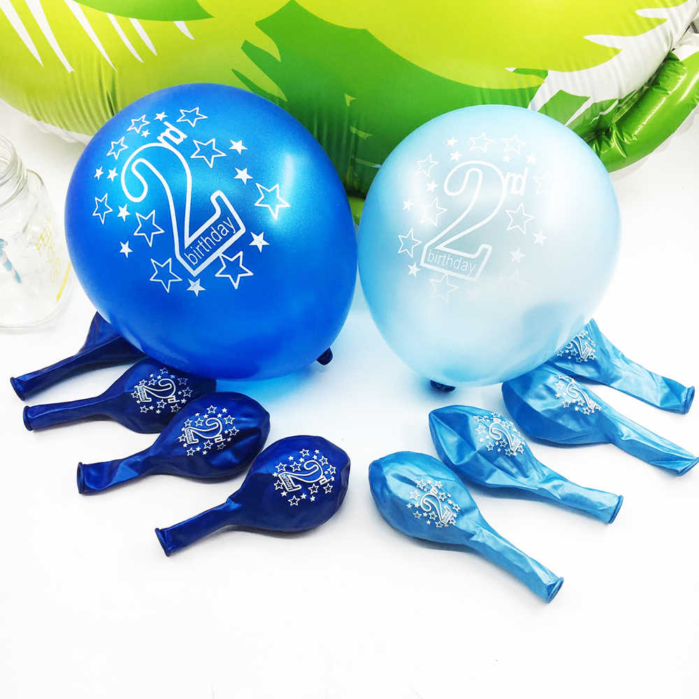 Amawill 10pcs Happy Kid Birthday Printed Number 2 Balloons Baby Shower 2nd Party Decorations
