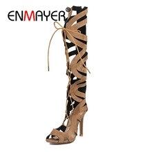 купить ENMAYER 2018 wholesale large size 32-46 brand shoes women sexy thin high heels summer boots party shoes gladiator shoes CR286 по цене 2072.94 рублей