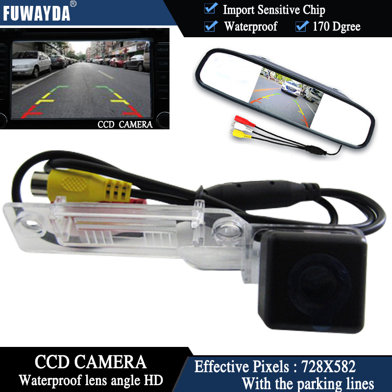 FUWAYDA CCD Car RearView Camera for VW Golf Passat Touran Caddy Superb/T5 Transporter/Multivan+4.3 Inch rear view Mirror Monitor