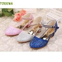 2018 Children Princess Glitter Sandals Girls Soft Shoes Square Low Heeled Party Girls Summer Shoes Kinder Sandalen
